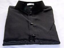 Mens Black Mandarin Thai Silk Shirt / Short-Long S-XXXL