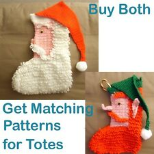 Crocheted Santa or Elf Loopy Christmas Stocking Pattern (LARGE PRINT AVAIL)