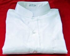 Mens White Mandarin Thai Silk Shirt / Short-Long S-XXXL