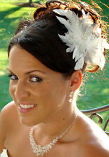 Feather Fascinator Crystal Floral Bridal Hair Clip Wedding Hairpiece White Ivory