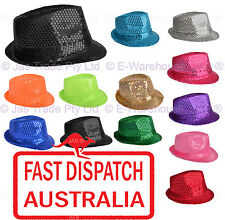 FEDORA TRILBY  HAT Cap Glitter Sequin Sequinned Dance Party Costume Many Colours