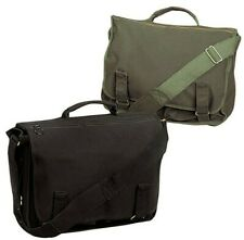 SCHOOL BAG CANVAS EUROPEAN MESSENGER STYLE OLIVE DRAB OR BLACK ROTHCO 8118