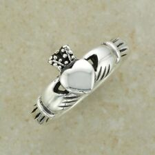 Irish Celtic Plain Sterlimg Silver Claddagh Ring - Size 5 6 7 8 9 10