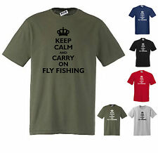 KEEP CALM AND CARRY ON FLY FISHING FUNNY T-SHIRT S/M/L/XL/XXL/XXXL RED/NAVY+