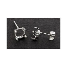 (3mm - 10mm) Round Cabochon Solid Sterling Silver Cast Earring Settings