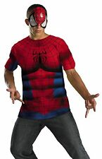 Adult Mens Spiderman T-Shirt & Mask Halloween Costume