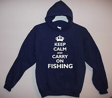 NEW ADULT NAVY HOODY 'KEEP CALM AND CARRY ON FISHING' S/M/L/XL/XXL