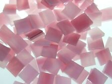 PINK & WHITE WISPY handcut stained glass mosaic tiles #265