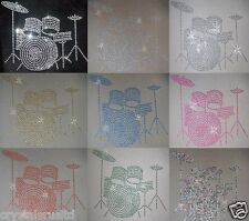 DRUM SET BAND IRON-ON HOTFIX RHINESTONE CRYSTAL BEAD TSHIRT BLING TRANSFER PATCH