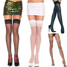 One Size Queen Black Navy Blue Nude or White Sheer Thigh Hi Stockings  ML4101Q