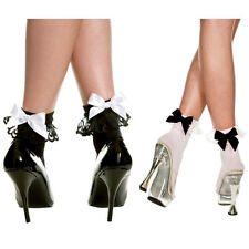 Black or White Opaque Ankle Socks with Bow One Size Fits Most   ML546