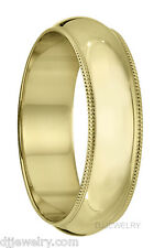 14K Yellow Gold Wedding Band Ring 6mm S11-11.75 Milgrain 1mm Thick Engraved Free