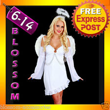 G29 Ladies White Angel Fancy Dress Halloween Costume + Halo & Feather Wings