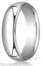 6mm 14K White Gold Wedding Band Ring S10-10.75 Milgrain Comfort Fit 2mm Thick