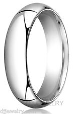 6mm 10K White Gold S8-8.75 Heavyweight 2mm Thick Comfort Fit Wedding Band Ring