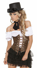 Sexy Steampunk Victorian Cosplay Costume Faux Leather Corset