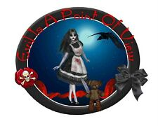 Custom Made T Shirt Evil Is Point Of View Gothic Girl Bloody Teddy Bear Knife