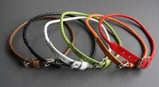 NEW Leather Braided Wrap Surfer Bracelet Wristband Necklace Choker Cuff Buckle