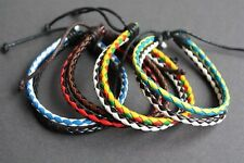 NEW Leather Braided Slip Knot Surfer Bracelet Wristband Cuff Hemp Multicolor