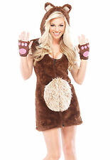 Sexy Adult Halloween Teddy Bear Girl Costume w Faux Fur Boot Covers