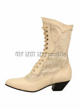 Oak Tree Farms Cathedral Ivory old west Victorian style granny boots sizes 6-9