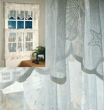 """Seashells Lace Valance Swag, Panel 63"""" & 84"""" and Shower Curtain"""