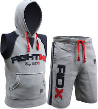 RDX Fight Me Hoodie Sleeveless TrackSuit Shorts MMA Boxing Gym T Shirt Grey Mens