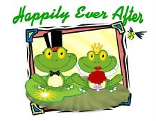 Custom Made T Shirt Happily Ever After Frog Couple Bride Groom Wedding Dragonfly