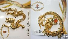 CHINESE DRAGON FANCY FASHION BROOCH PIN BADGE BLING CRYSTAL DIAMANTE OCCASION