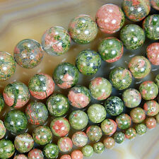 "Natural Unakite stone Round Gemstone Beads 15.5"" 4 6 8 10 12 14 16mm Pick Size"
