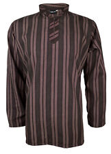 Mens Indian Long Sleeve Kurta Top-Shirt Brown MK6692 Various Sizes