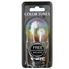 Vibe Color Tunes Stereo Sound Comfortable In-Ear Earbuds -Includes Ear Cushions!