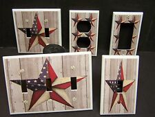 PATRIOTIC AMERICANA BARN STAR  #3  LIGHT SWITCH COVER PLATE OR OUTLET COVER