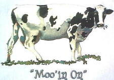 "NEW! Womens Farm Animal Humorous ""MOO'IN ON"" Cow Unisex T-Shirt S M L XL 2X 3X"