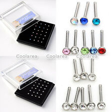 20G Wholesale 24pc Crystal Nose Stud Bone Ring 316L Stainless Steel Piercing Lot