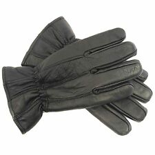 Mens RJM Soft Leather Padded Winter Gloves Fleece Lined in Black or Brown