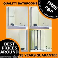 Pivot Over Bath Shower Screen Door Glass Chrome Frame Straight/ Curved/ 4 Fold