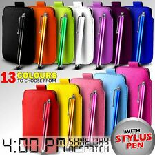 LEATHER PULL TAB SKIN CASE COVER POUCH & STYLUS FOR VARIOUS ACER PHONES