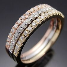 PAVE SOLID 14K GOLD .2CT DIAMOND WEDDING HALF ETERNITY BAND ENGAGEMENT RING