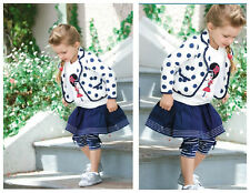 New Girl Kids Toddler Dot Jacket+T-shirt+Bowknot Streak Culottes Outfit Age6M-5Y