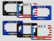 PERSONALIZED Submarine Dolphins License Plate Frame Flag Black Blue Motorcycle