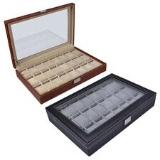 24 Mens Black/Brown Leather Watch Display Box Glass Top Jewelry Case Organizer