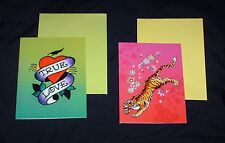 New ED HARDY 8 blank notecards w/ 8 envelopes -  2 designs to choose from
