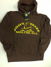 NEW John Deere Dark Brown Hoodie Vintage Logo Sweatshirt S M L XL 2X 3X JD