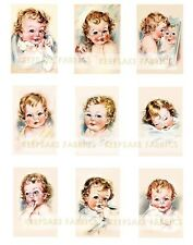 Adorable Vintage Babies Sepia Applique Fabric Blocks FrEE ShiPPinG WoRld WiDE