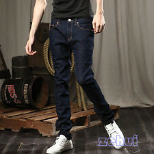 Multi Size Relaxed Men Slim Skinny Pencil Blue Trousers Long Pants Fashion Jeans