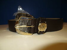 NWT Michael KORS Chocolate Brown Leather Gold Buckle All Sizes Womens Belt