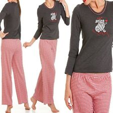 Ladies Elliephantastic Cotton Pyjamas Sizes S M L Cute Elephant Design Check
