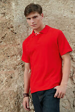 FRUIT OF THE LOOM PREMIUM RED POLO T-SHIRT SIZES S L XL XXL     BRAND NEW