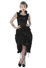 Banned Black Flocked Floral Skull Lace Up Steampunk Victorian Bustle Hitch Dress